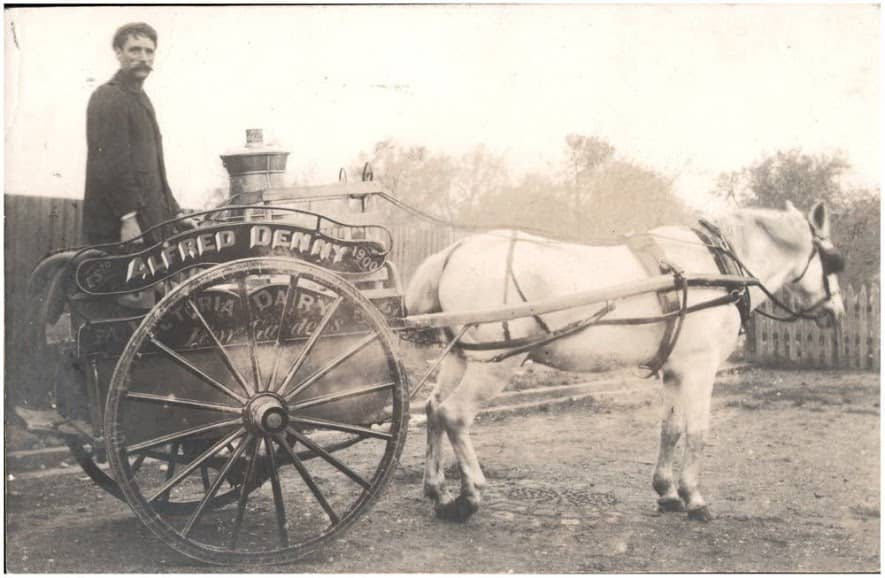 Milkman and horse-drawn cart - Alfred Denny, Victoria Dairy, Kew Gardens, Est 1900 (6154024664)